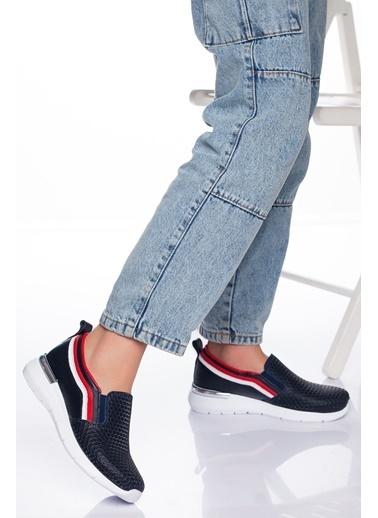 Derithy Hakiki Deri Sneaker Lacivert